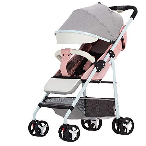 Carritos y sillas de Paseo El Cochecito de bebé Ultraligero Puede Sentarse recostado Paraguas de bebé Plegable pequeño Cochecito de niño Simple Bebé Sillas de Paseo (Color : Pink)