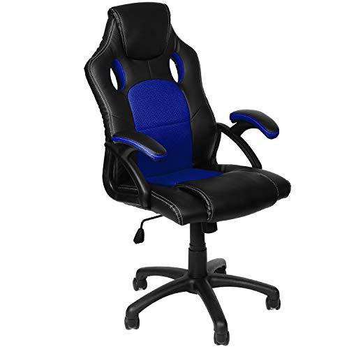 Panorama24 Gamer Stuhl Gaming Schreibtischstuhl Chefsessel Bürostuhl Ergonomisch, Blau, 9 Farbvarianten, gepolsterte Armlehnen, Wippmechanik, belastbar bis 150 kg, Lift TÜV geprüft