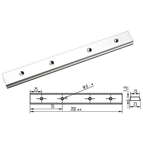 PovKeever 200 mm T-Schienenschlitz, Gleitblock für T-Schienen, Gehrungsschiene, Vorrichtung, gerade Kante, Holzbearbeitungswerkzeug, M6 x 4
