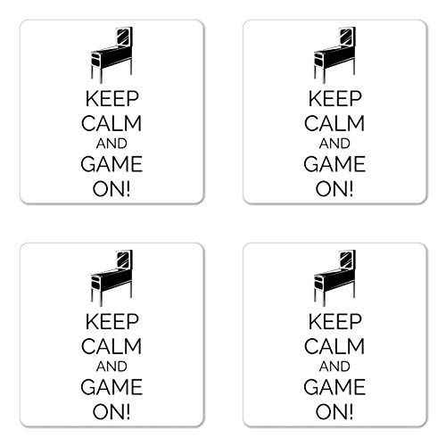 Keep Calm Coaster Set of 4, Cup Coaster, Pinball Machine Arcade Room Concept Keep Calm and Game on Fun Entertainment, Square Hardboard Gloss Coasters for Drinks, Black White