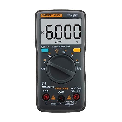 Kongnijiwa ANENG AN8002 multímetro de 6000 Cuentas Volver CA Luz/DC del amperímetro del voltímetro del probador de Ohm Frecuencia diodo Temperatura
