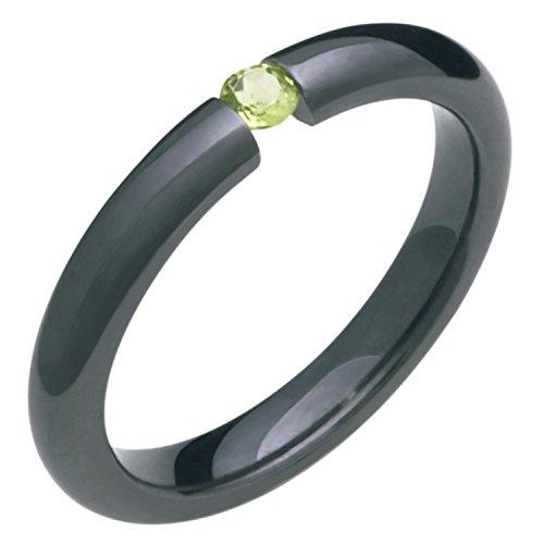 Alain Raphael Black Titanium and Peridot Stone Tension Set Ring Comfort Fit 3mm Wide Wedding Band Black Titanium Tension Rings