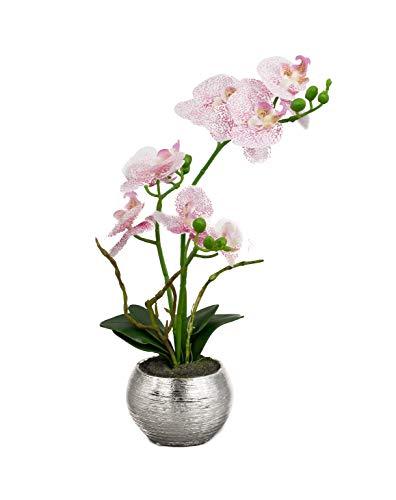 artfleur - künstliche Orchidee Phalaenopsis im Silbertopf ca. 30 cm Blühpflanze Topfblume