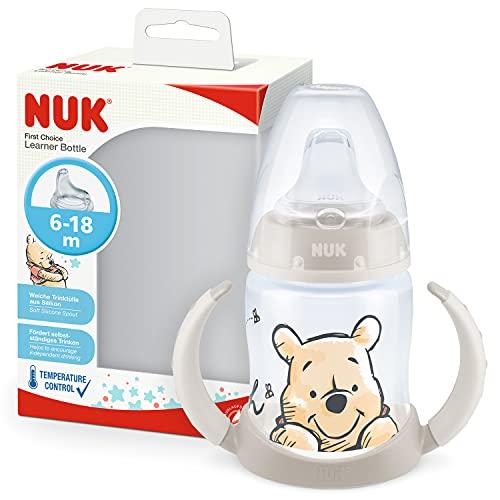 NUK First Choice+ bicchiere antigoccia   6-18 mesi   Beccuccio in silicone a prova di perdite   Controllo temperatura   Sfiato Anti-Colica   Senza BPA   150ml   Disney Winnie the Pooh Beige
