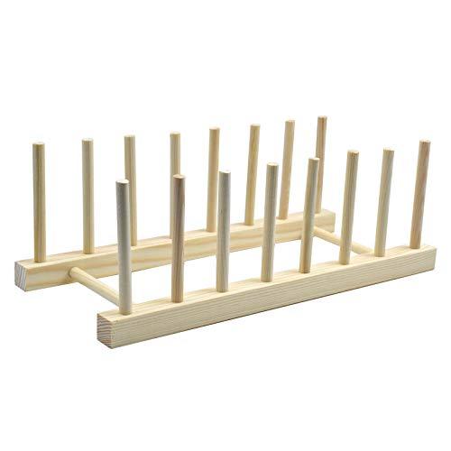 Jinlaili Abtropfgestell Holz, Geschirrkorb Tellerständer, Brettchenhalter Küche, Tellerhalter Ständer für Teller, Tassen, Buch, 8 Steckplätze