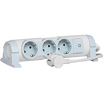 Legrand, 694621 Bases Múltiples Confort - Regleta con 3 enchufes, regleta enchufes con interruptor, cable de 1,5mts, gama 'Confort', color blanco y gris, 3 tomas + interruptor