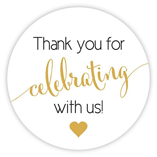 Thanks for Celebrating with Us Stickers, Wedding and Even Favor Labels (#362-BG)