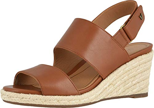 Vionic Women's Brooke Wedge Sandals - Espadrille with Concealed Orthotic Arch Support Cognac Leather 8 Medium US