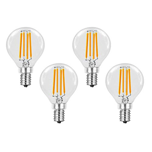 4 Pack - E14 6w Not Dimmable LED Filament Bulb, 600lm Old Fashioned Edison Candle Light Bulb, 220v G45 Clear Glass Candlestick Bulb, Replace 60w Incandescent Lamp