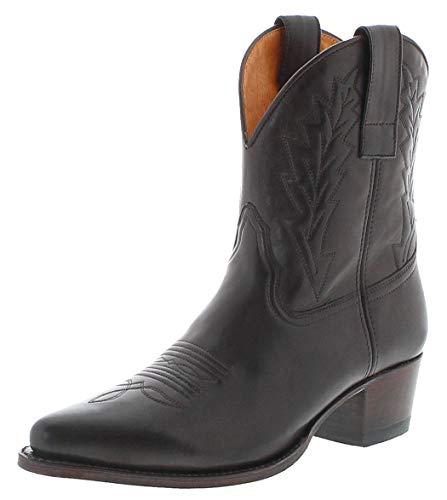 Sendra Boots Damen Cowboy Stiefel 16367 Lederstiefel Westernstiefelette Dunkelbraun 42 EU