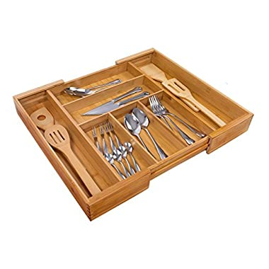 Expandable Bamboo Wooden Utensil Tray with 7 Compartments,Durable and Adjustable Cutlery Drawer Organizer,Nice Flatware Holder,Antimicrobial Drawer Divers (bamboo)