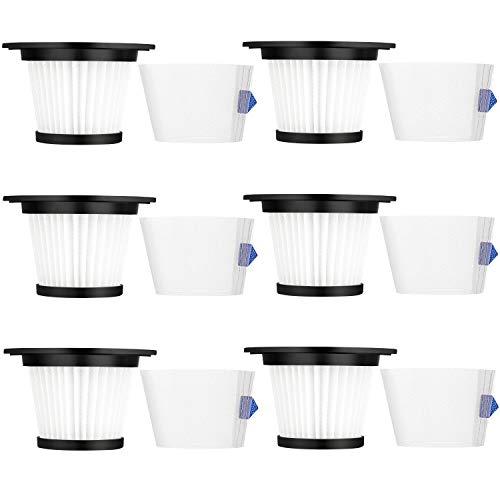 LINNIW 6 Pack Replacement HEPA Filter Compatible for MOOSOO K17 Cordless Vacuum (6 HEPA Filter & 6 Strainer Screen)