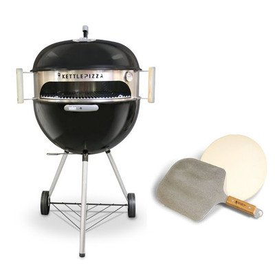 KettlePizza Deluxe Pizza Oven Kit for Weber Kettle Includes Stone & Metal Peel