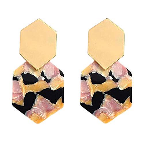 Haodou Ohrringe Geometrisches Acryl Ohrhänger Damen Ohrschmuck Elegante Ear Cuff Anhänger Ohrringe für Sie selbst,Ihre Familie für Muttertag,Valentinstag(Stil 12)