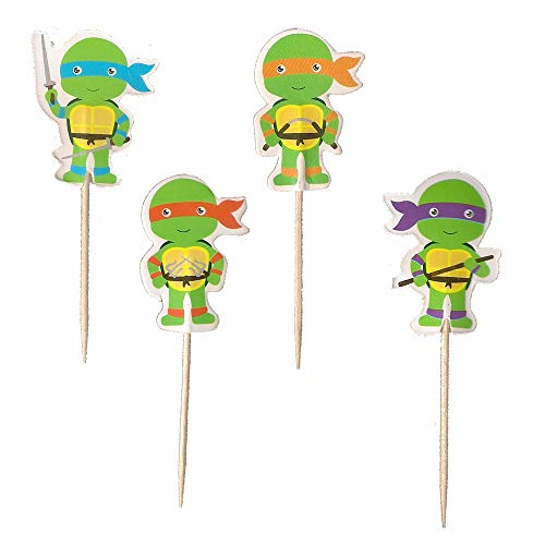 24PCS Teenage Mutant Ninja Turtles Cupcake Toppers For Kids Birthday Party Cake Decorations