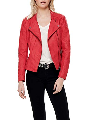 ONLY NOS Damen Jacke onlAVA FAUX LEATHER BIKER OTW NOOS,Rot (High Risk Red High Risk Red),34