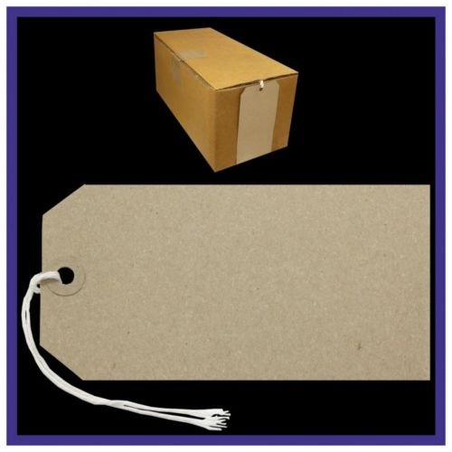 1000 Brown BUFF Strung Tags 146mm x 73mm Extra Large Luggage Manilla Tie Craft