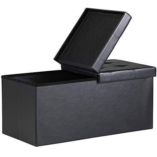 Deuba 2en1 baúl cajon de almacenaje y banco Negro 100L tapa plegable asiento acolchado repelente al agua 80x40x40cm