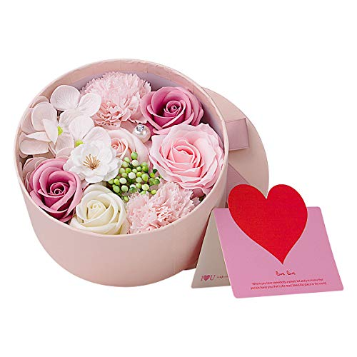 ANBET Artificial Flowers with Pink Round Gift Box Fake Rose Carnation Bouquets Women Gift for Valentine