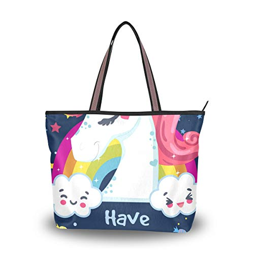 LORONA Frauen Geburtstagskarte mit Einhorn und Nachricht Leinwand Schulter Handtasche große Kapazität Einkaufstasche