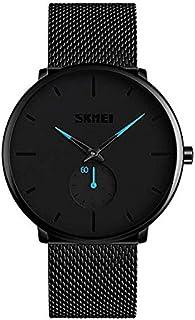 Skyera Relojes Hombre De Malla Ultra Fino Negro para Hombres