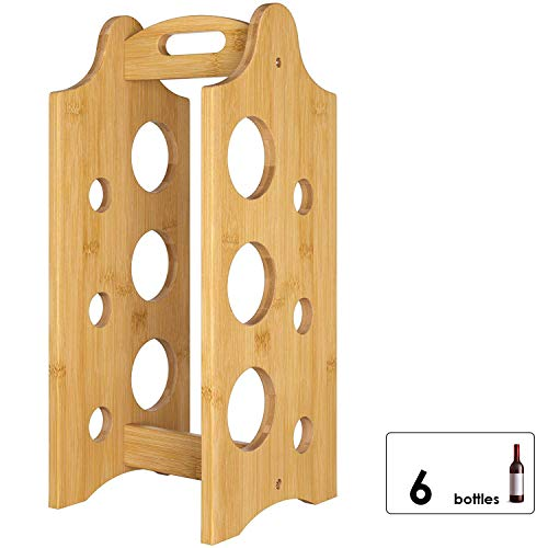 Homfa Portabottiglie Portatile Vino in bambù Portabottiglie con Manico Colore Naturale 19,4 x 20 x 47 cm