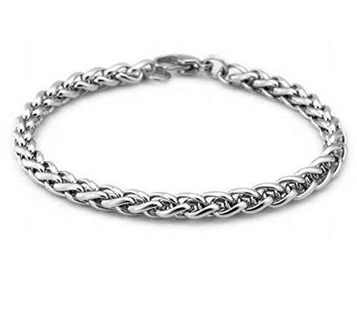 Pulseira Bracelete De Aço Inox Trançado Prata Masculino Design Italiano