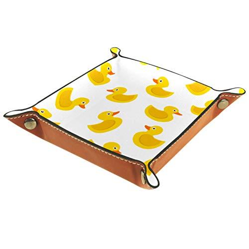 Caja de almacenamiento pequeña, bandeja de valet para hombre,Pato de goma amarillo sobre fondo blanco. ,Organizador de cuero para llaves de caja de monedas