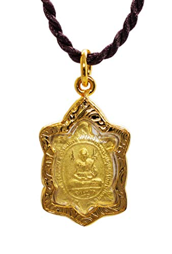 Turtle Shaped Standing Buddha and LP Liew Monk - Phra Puttajow Pahng Perd Lok Kee Tow Thai Amulet Pendant