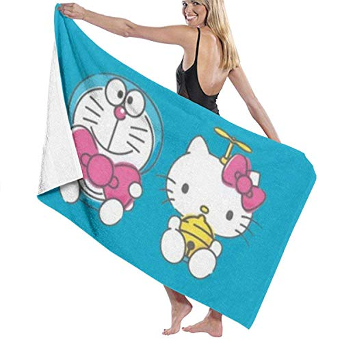 Hello Kitty y Doraemon Toallas de baño de Uso múltiple Altamente absorbentes de Secado rápido Toallas de Playa Toallas de Piscina 31 X 51 para Mujeres Hombres
