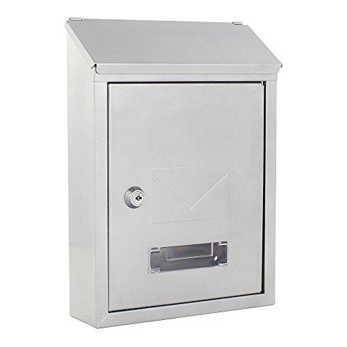 Rottner Briefkasten Udine Stahlblech Silber mit Namensschild und 2 Einwurfschlitze Sichtfenster