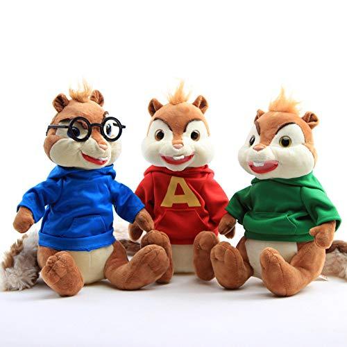 NA 3 Pezzi/Set 25 Cm Alvin And The Chipmunks 4 Giocattoli di Peluche Bambola, Carino Theodore Simon Rosso in Peluche Ripieno, Regalo per Bambini Donne 25cm 3pcs