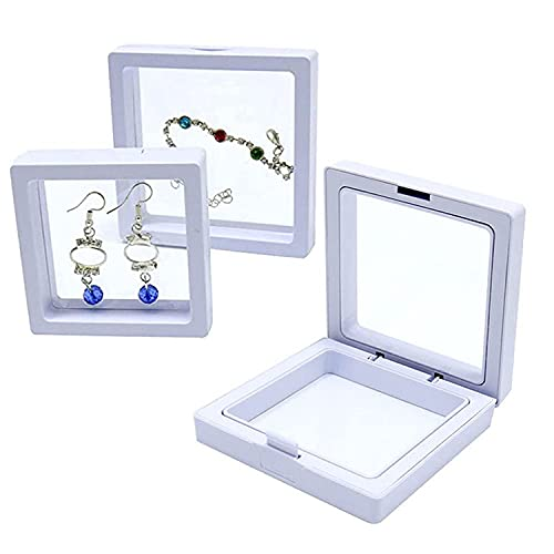 Exhibición del marco flotante 3D, caja de almacenamiento de la joyería de la película del PE, estante del almacenamiento de la joyería para el pendiente de la pulsera del collar del anillo (blanco, S)