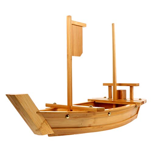 HEMOTON Wooden Sushi Serving Tray Boat Plate for Restaurant or Home 70CM