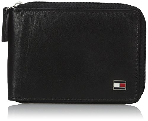 Tommy Hilfiger Men's Oxford Ziparound Wallet, Black, One Size