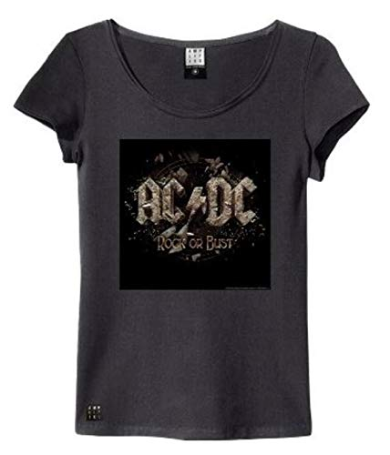 Amplified ACDC Rock Or Bust Cover Camiseta, Negro (Charcoal), Large para Mujer