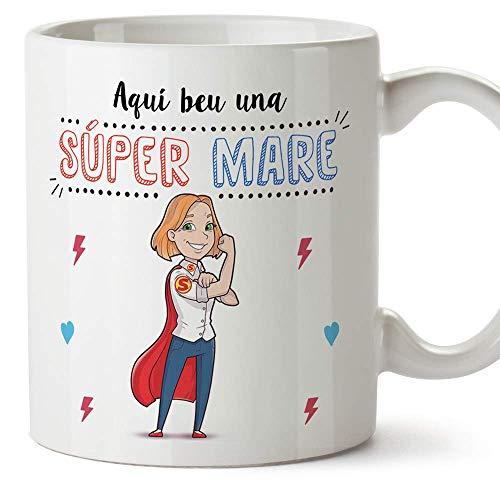 """MUGFFINS Taza Mamá (En Catalán) -""""Aquí beu una Súper Mare"""" - Taza Desayuno/Idea Regalo Día de la Madre. Cerámica 350 mL"""