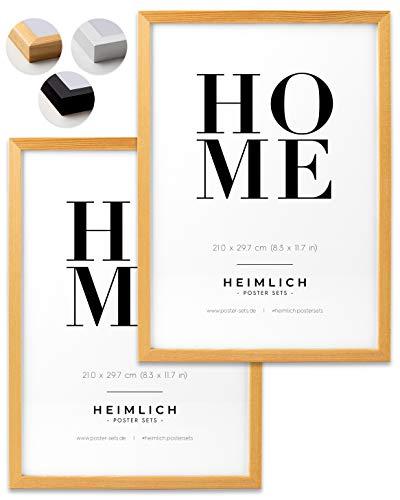 Heimlich® Doppelpack (2 STK.) Bilderrahmen DIN A4 Holz Natur   Bilderrahmen 21 x 29,7 cm (8.3 x 11.7 in) Natur mit bruchsicherem Plexi-Glas   Bilderrahmen Holz