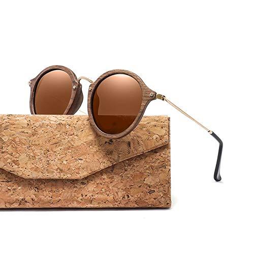 ghn Gafas de sol de moda ultraligeras para mujeres y hombres, gafas de sol polarizadas con marco redondo de madera CR39, lentes simples para pesca de montañismo, lentes de color marrón con funda)