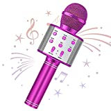 Wowstar Wireless Microphone, Karaoke Bluetooth Microphone for Kids Adults, Portable Toy Karaoke Mic Speaker Machine, Home KTV Player Support Android & iOS Devices for Party Singing (Violet)