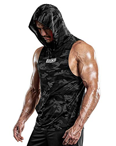 DRSKIN Men's Hooded Tank Tops Bodybuilding Muscle Cut Off T Shirt Sleeveless Gym Training Hoodies Workout Dry (T-Hood MBB10, M)