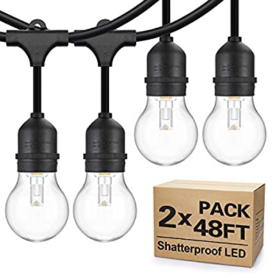 2-Pack 48FT Outdoor String Lights, Waterproof LED String Light 15 Hanging Sockets, 33 x 1W Vintage LED Edison Bulbs Dimmable, Commercial Grade Patio Lighting For Backyard Porch Bistro Garden Party