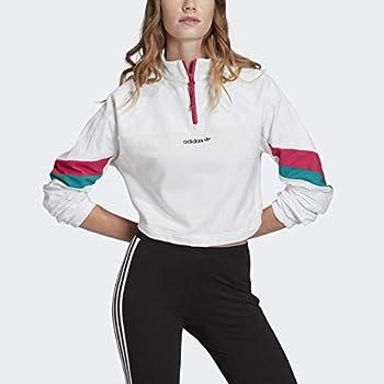 adidas Blocked 1/2 Zip Crop Top White LG