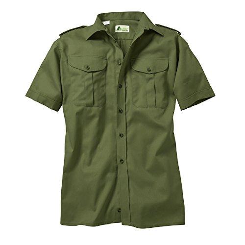 SKOGEN Jagdhemd Oliv mit kurzem Arm Übergröße, Kragenweite:48