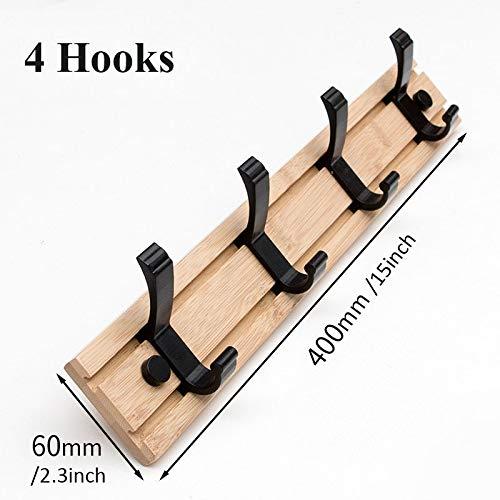 Kyt-mi Estilo de la moda nórdica Mobiliario de dormitorio Perchero ropa Hanger Room Ganchos de estar closet de madera Escudo Bastidores Sombrero pared gancho de la suspensión ( color : Wood 4 Hooks )