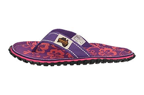 Gumbies Zehentrenner in Übergrößen Violett 2204 Islander Purple Hibiscus große Damenschuhe, Größe:44