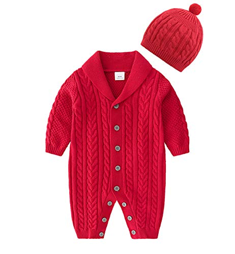 JooNeng Baby Newborn Cotton Knitted Sweater Romper Longsleeve Outfit with Warm Hat Set (3-6 Months, Red B)