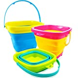YongnKids Beach Toys Foldable Sand Bucket- 3Pcs 2L Collapsible Pail Silicone Beach Bucket Sand Sandbox Beach Pail with Handle, Great Summer Toys for Beach Travel, Camping, Fishing, Swimming Pool