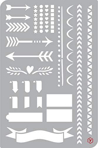 Schablone Vorlage Bullet Journal Pfeile und Borten 18x12cm zeichnen malen Diary Scrapbooking