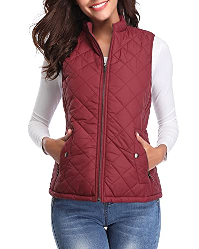Fuinloth Women's Quilted Vest, Stand Collar Lightweight Zip Padded Gilet Wine Red M